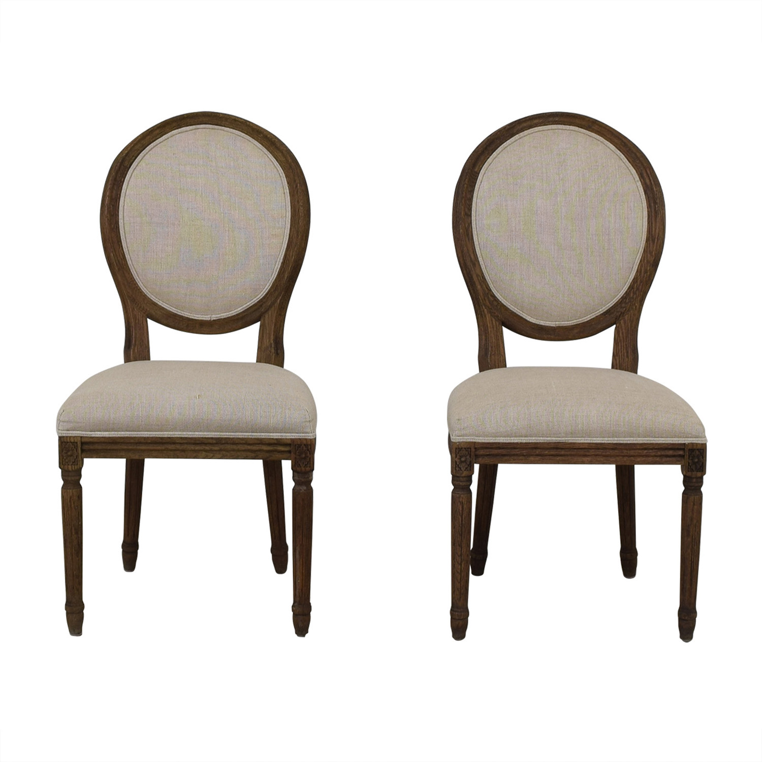 Restoration Hardware Restoration Hardware Vintage French Grey Upholstered Chairs gray
