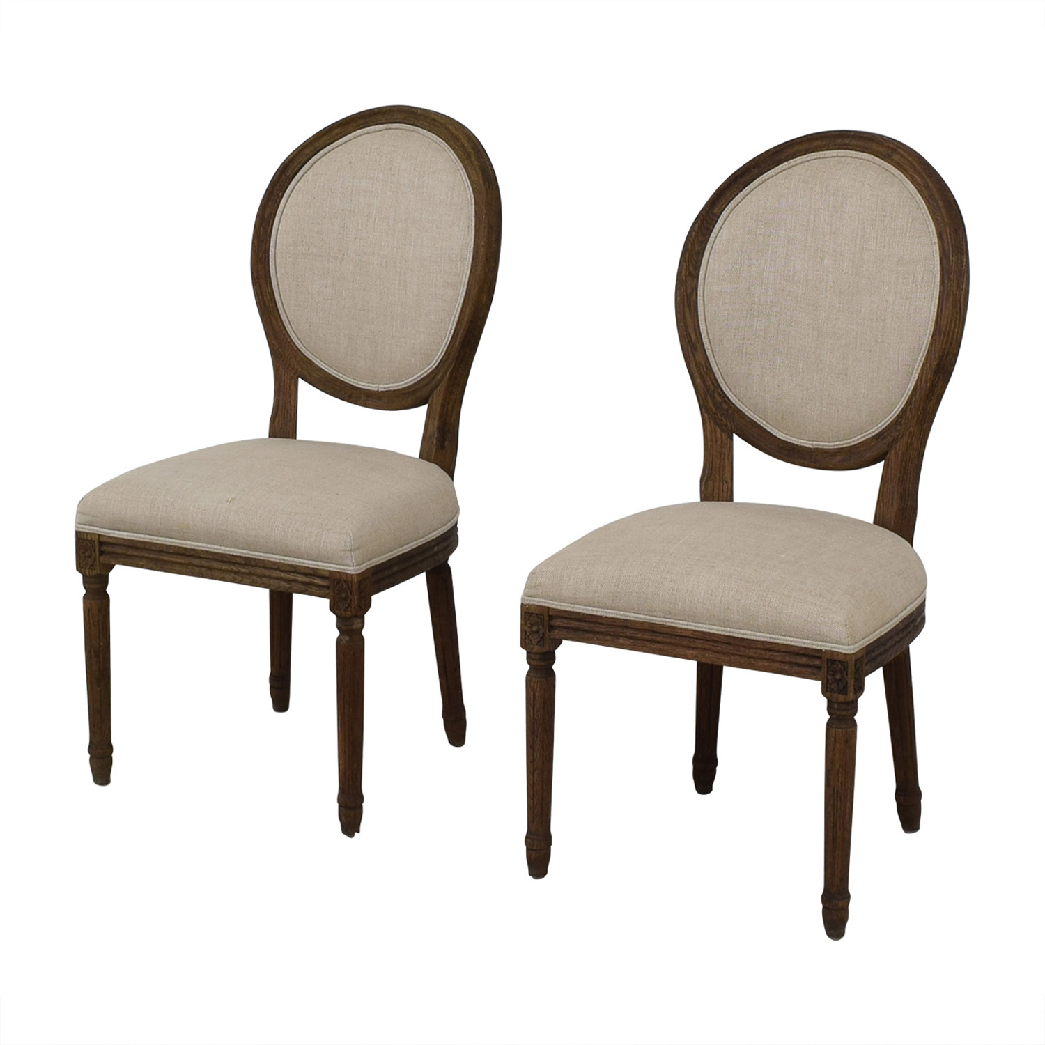 Restoration Hardware Restoration Hardware Vintage French Grey Upholstered Chairs on sale