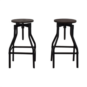 Industrial Wood Stools second hand