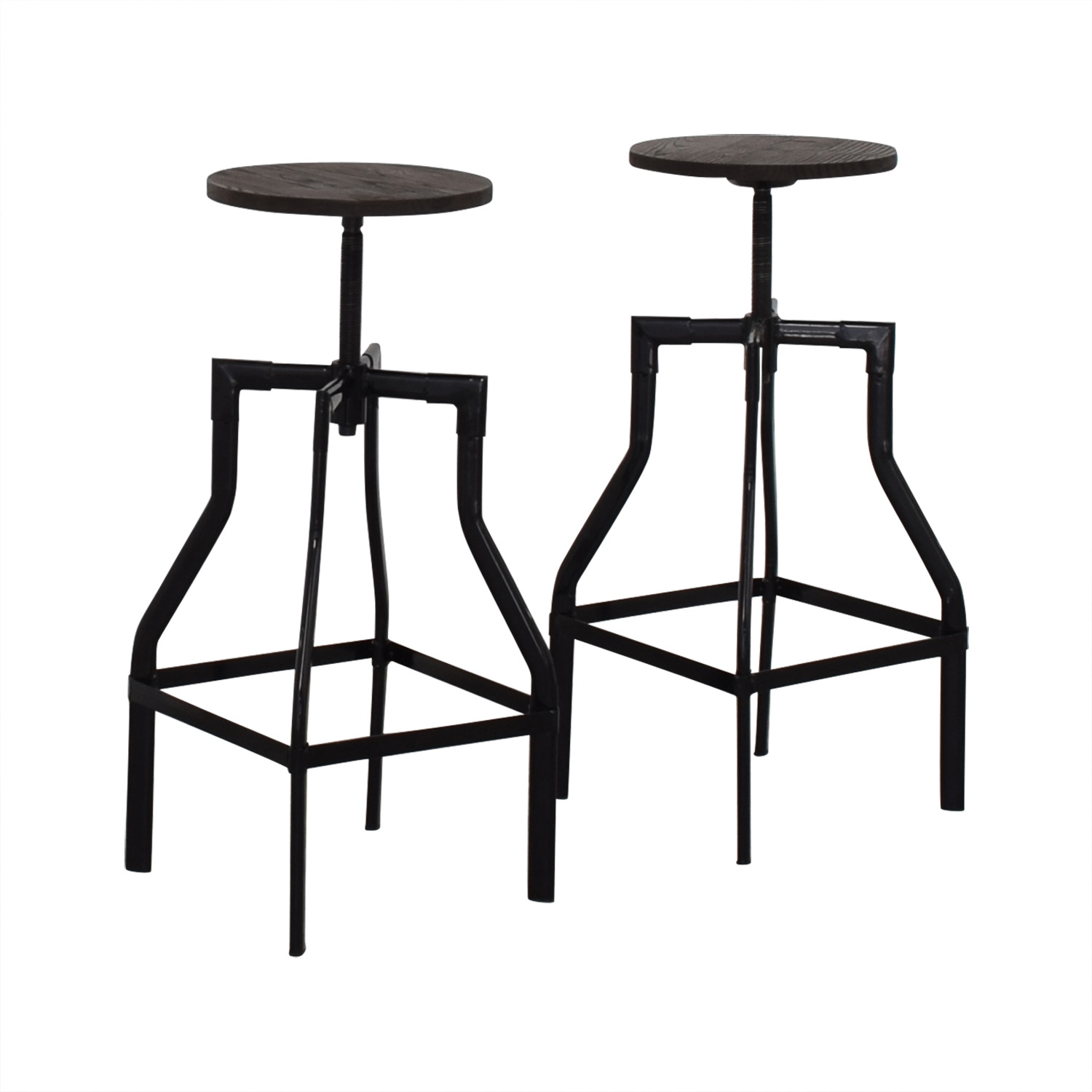 Industrial Wood Stools brown