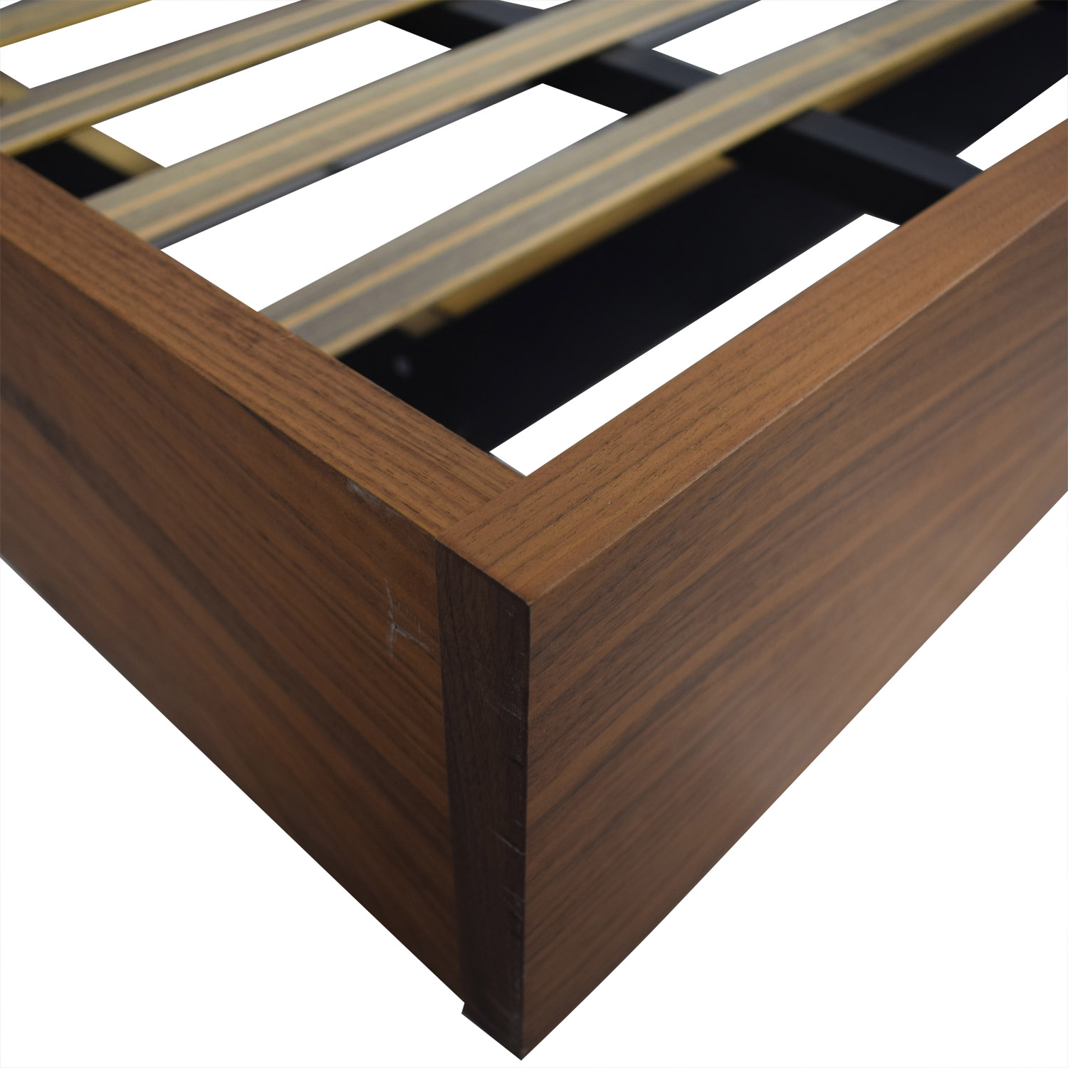 Walnut Float Platform Queen Bed Frame for sale
