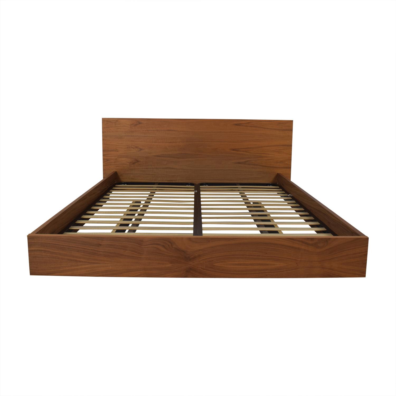 Walnut Float Platform Queen Bed Frame Beds
