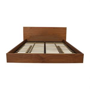 buy Walnut Float Platform Queen Bed Frame
