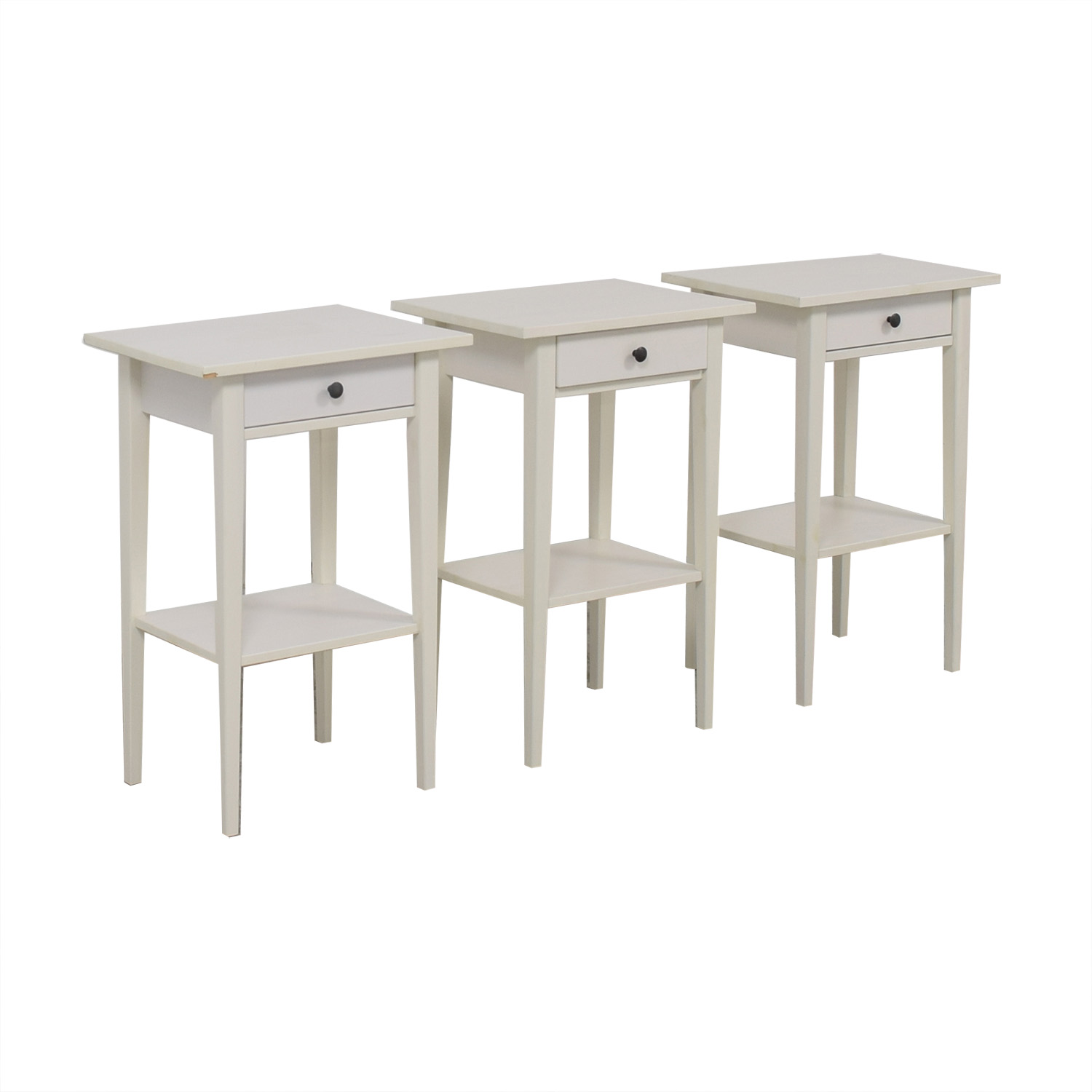 White Single Drawer Wood End Tables nyc
