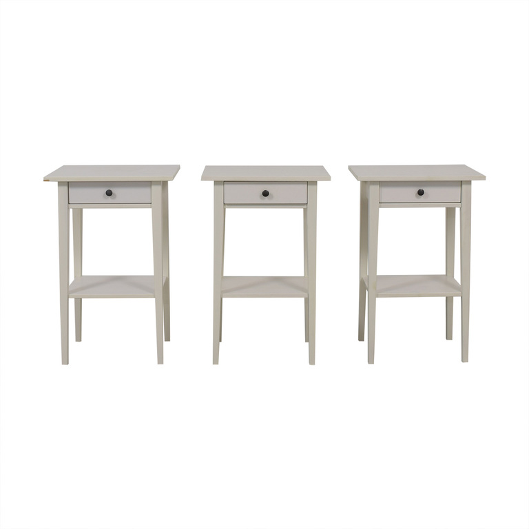 White Single Drawer Wood End Tables