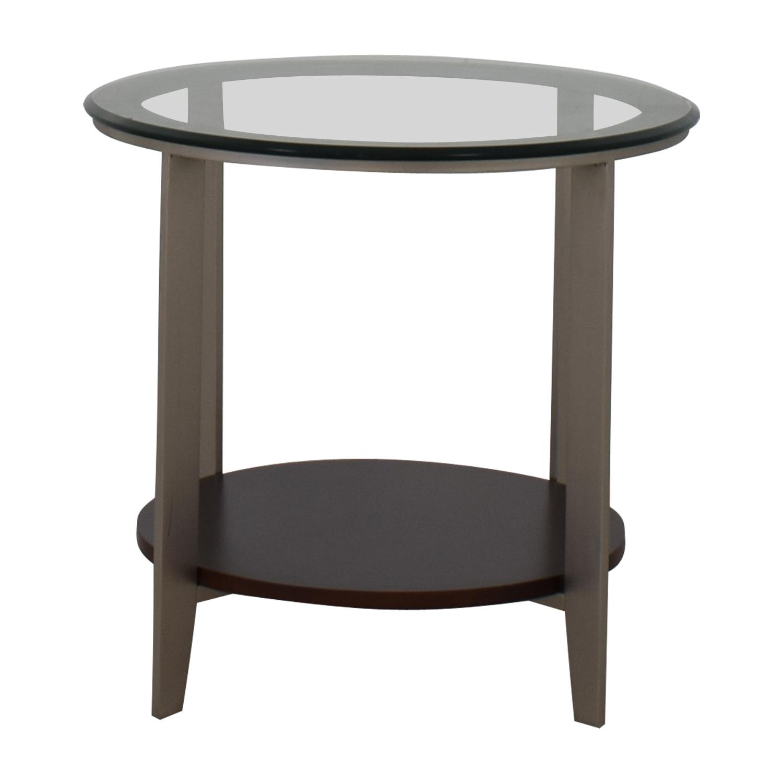Ethan Allen Elements Glass Top End Table sale