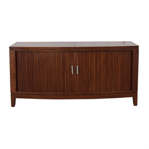 shop Media Console With Sliding Doors  Storage