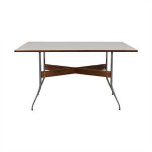 buy Herman Miller White George Nelson Swag Leg Dining Table with Rectangular Top Herman Miller Tables