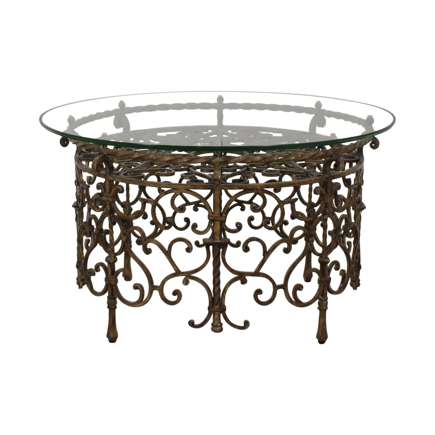 Glass and Metal Scrolled Coffee Table Bronze