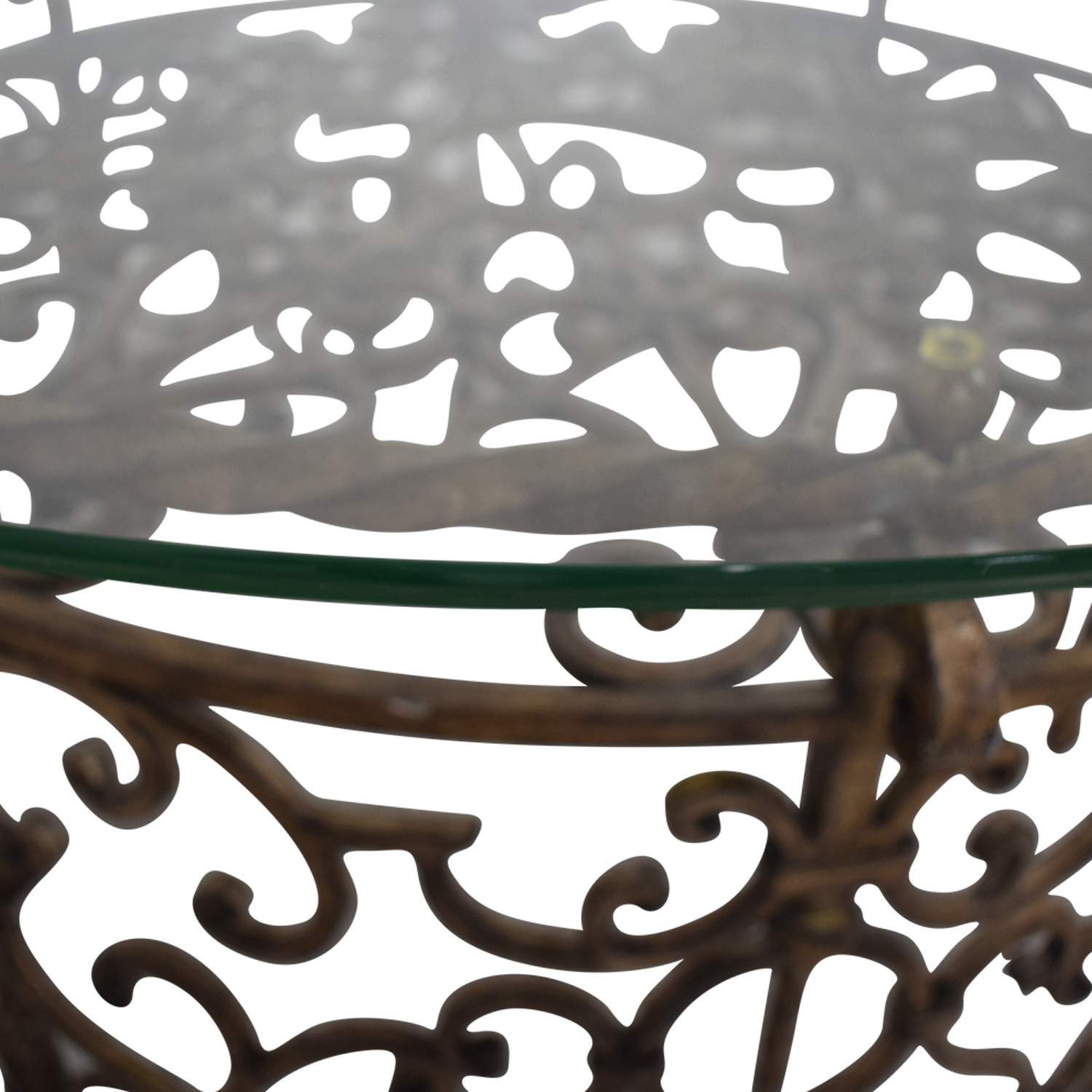 buy Glass and Metal Scrolled Coffee Table
