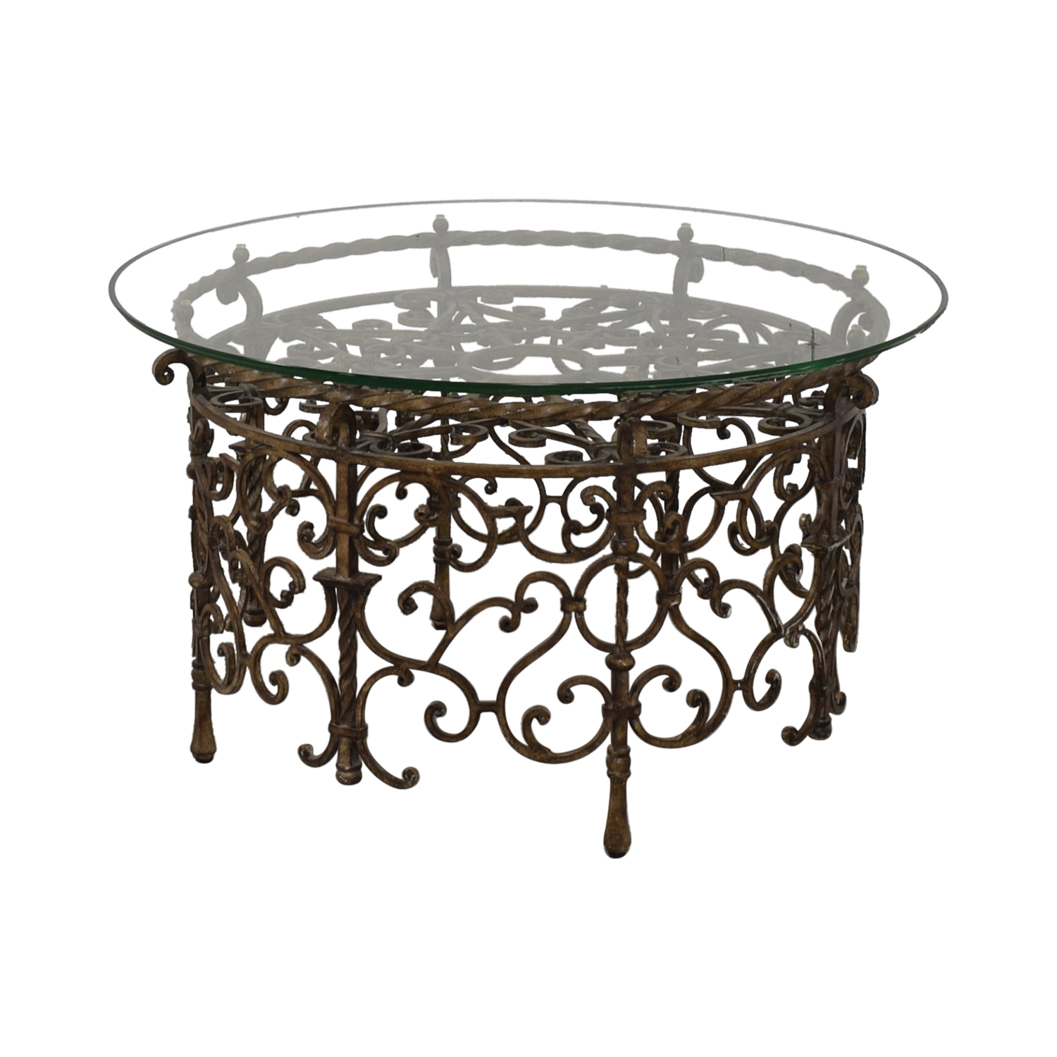 Glass and Metal Scrolled Coffee Table / Tables
