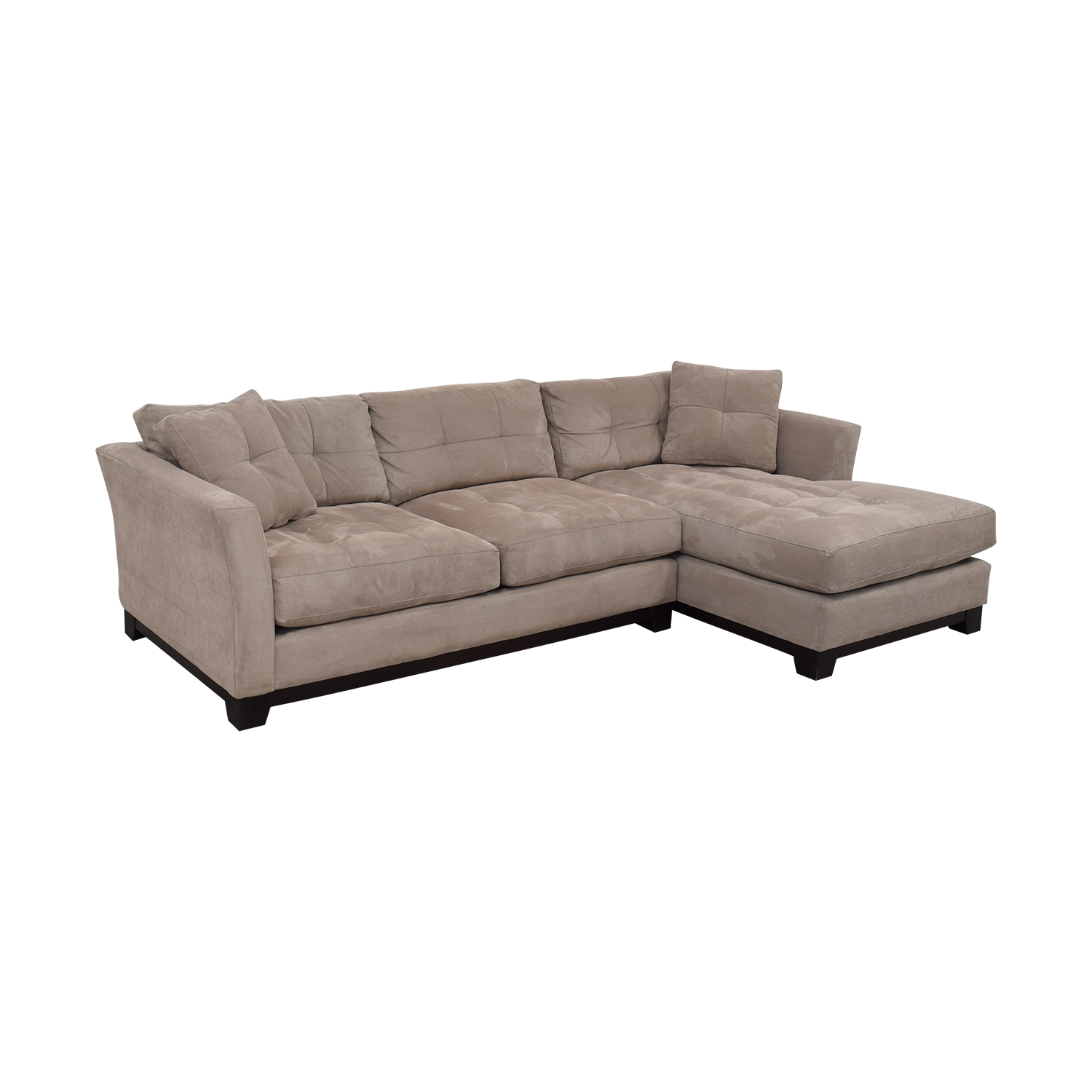 Macy's Macy's Elliot Cindy Crawford Grey Tufted Chaise Sectional used
