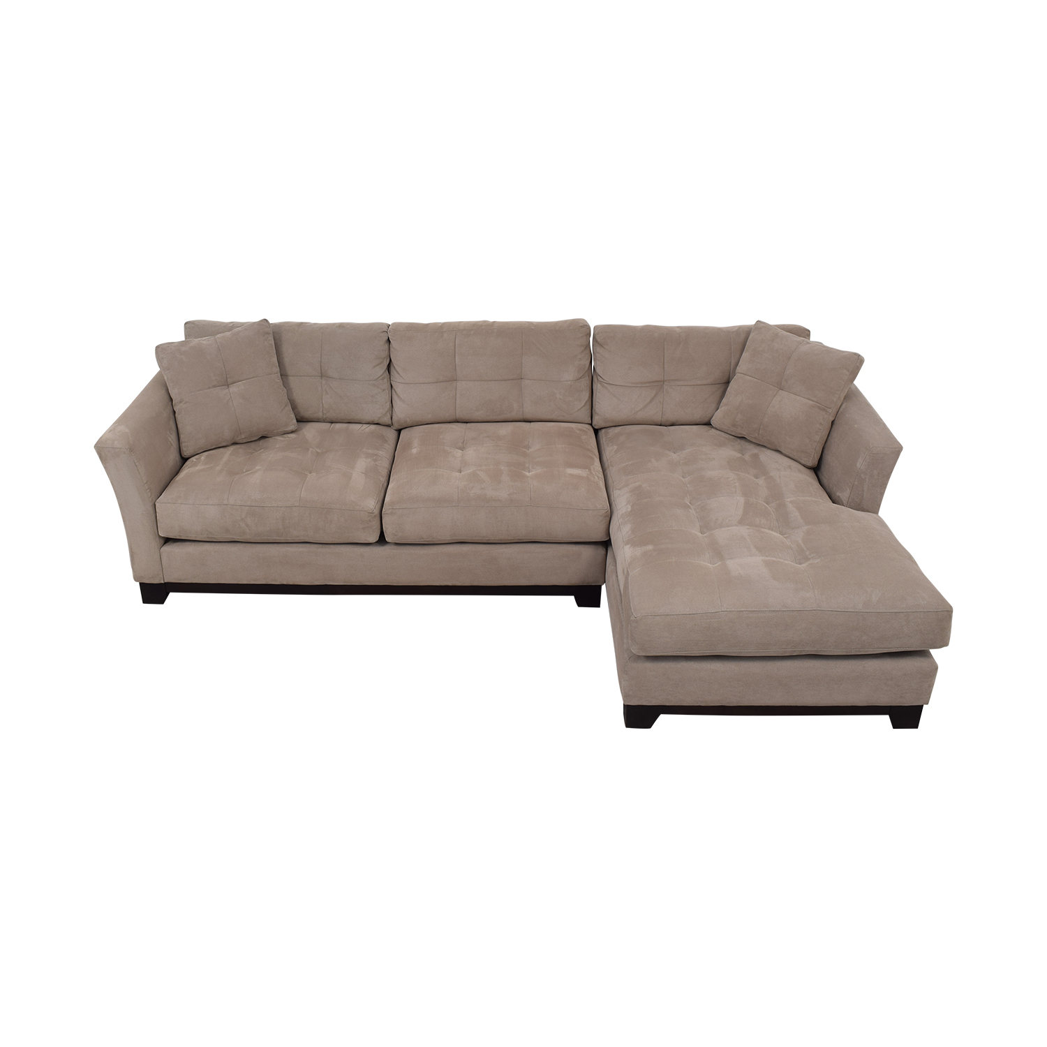 Macy's Elliot Cindy Crawford Grey Tufted Chaise Sectional / Sofas