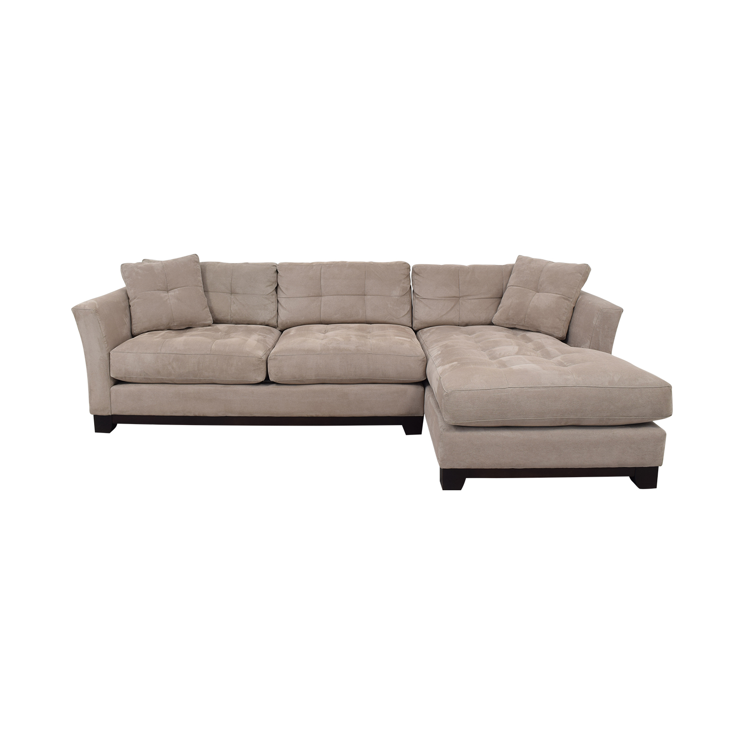 shop Macy's Elliot Cindy Crawford Grey Tufted Chaise Sectional Macy's Sofas