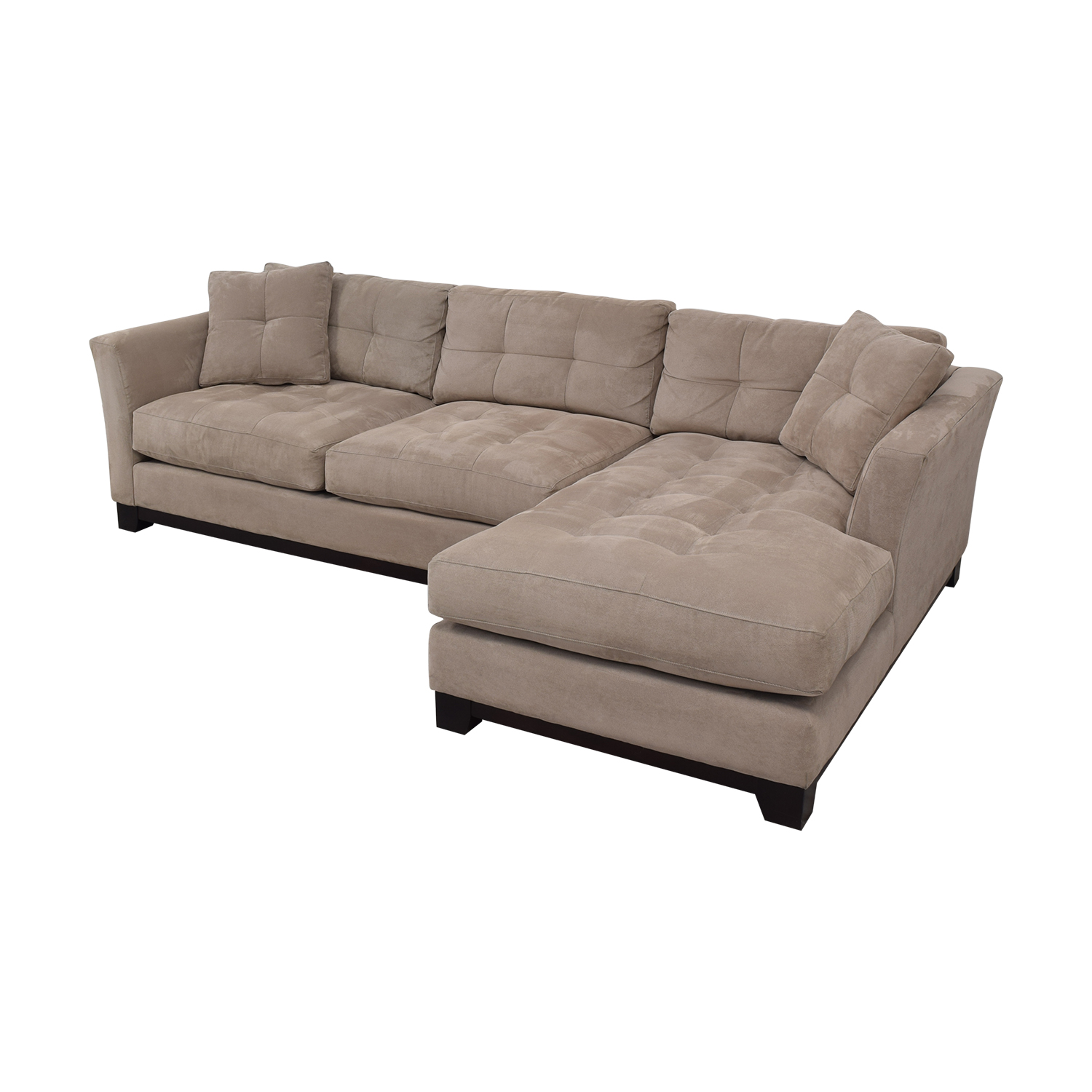 Macy's Macy's Elliot Cindy Crawford Grey Tufted Chaise Sectional for sale