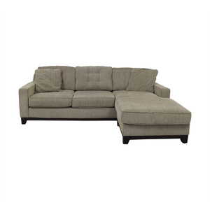 Macy's Macy's Grey Semi-Tufted Chaise Sectional