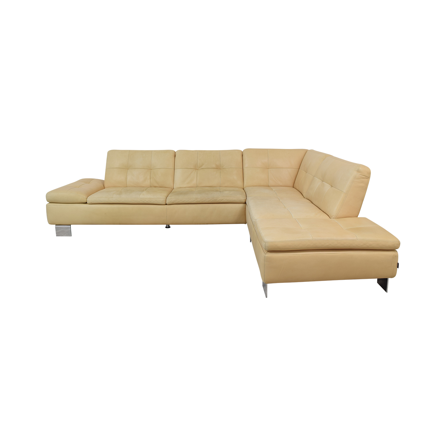W. Schillig W. Schillig Beige Tufted Sofa L-Shaped Sectional dimensions