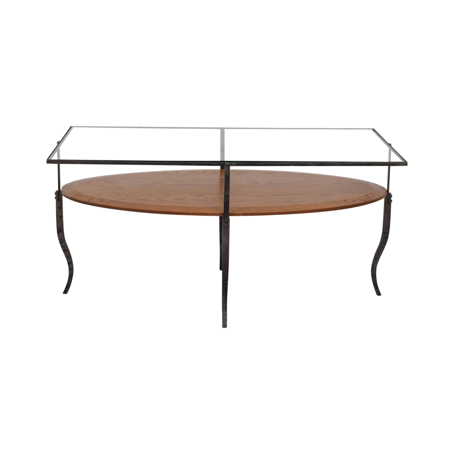 Glass Topped Coffee Table brown