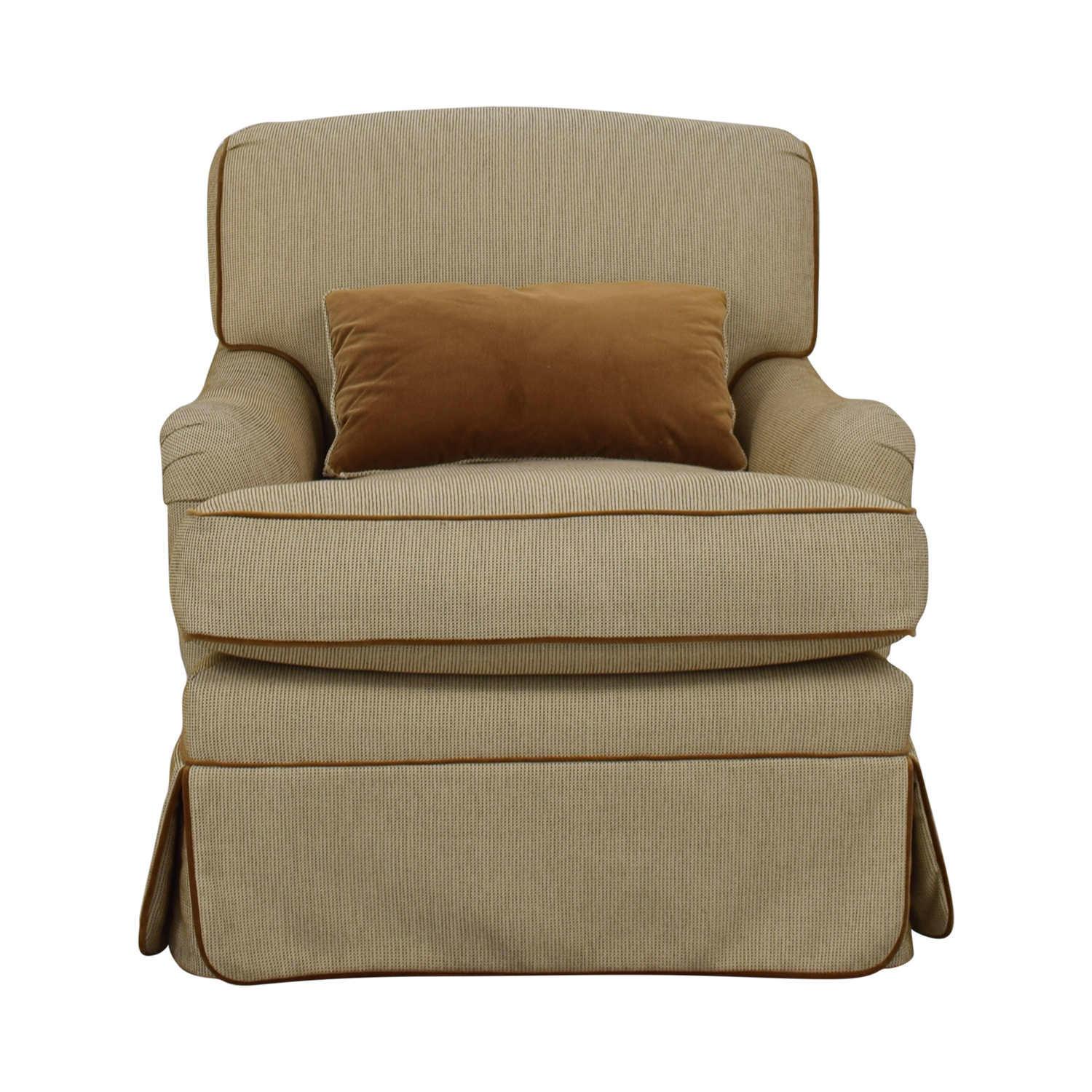 shop Beige Skirted Upholstered Accent Chair  Chairs