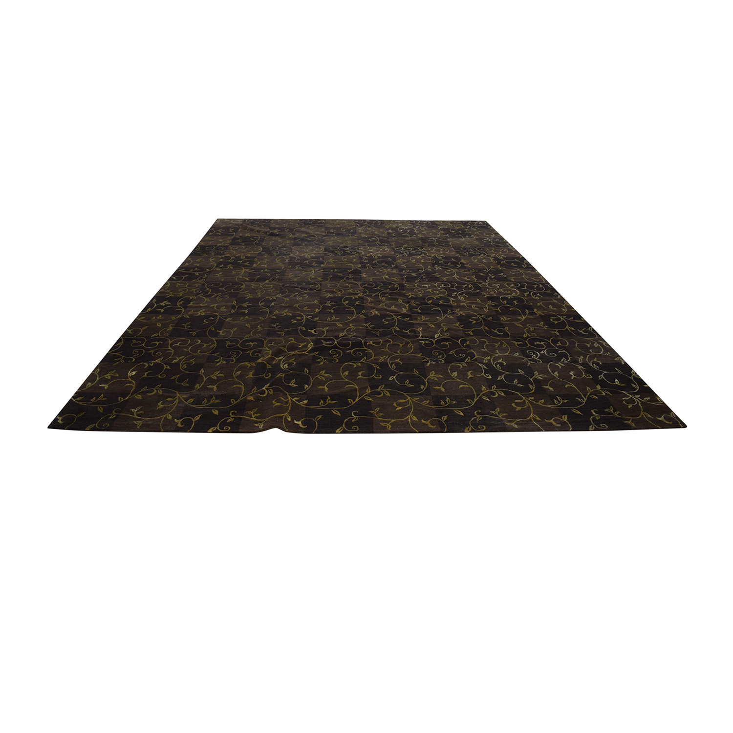 ABC Carpet & Home ABC Carpet & Home Brown and Gold Scroll Design Rug Decor