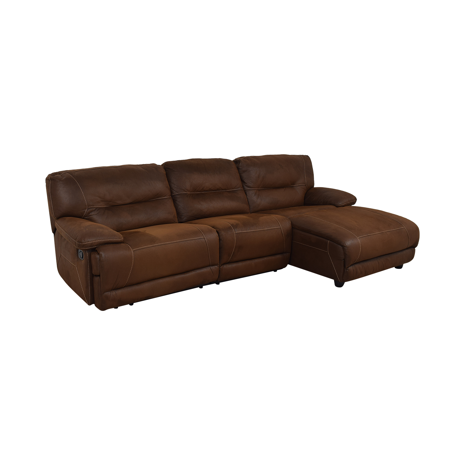 Bob's Discount Furniture Bob's Discount Furniture Brown Tufted Chaise Sectional Recliner dimensions
