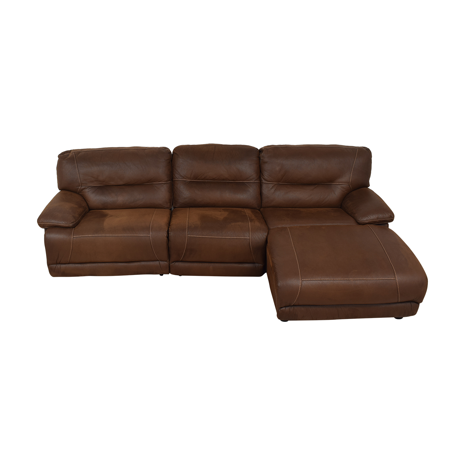 Bob's Discount Furniture Bob's Discount Furniture Brown Tufted Chaise Sectional Recliner brown