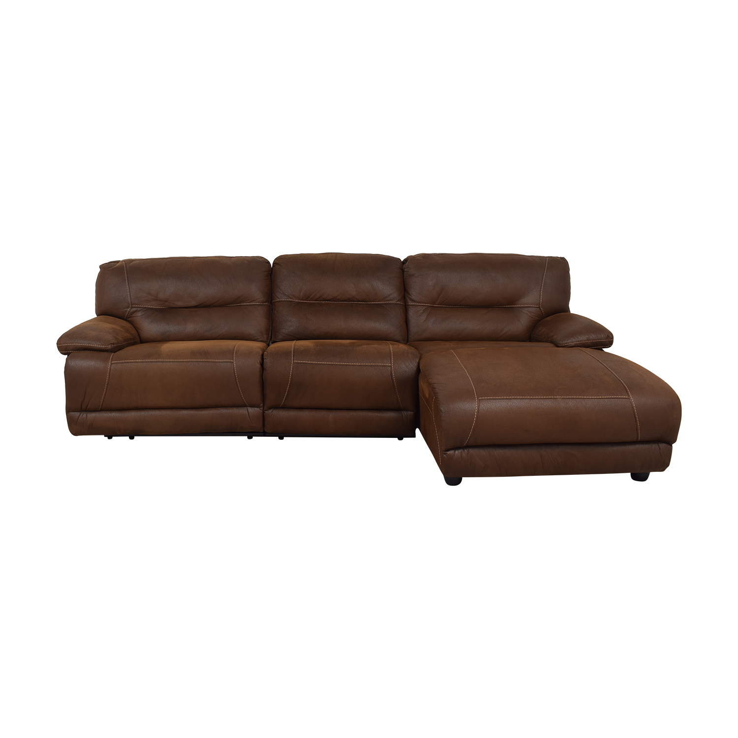 Bob's Discount Furniture Brown Tufted Chaise Sectional Recliner / Sectionals