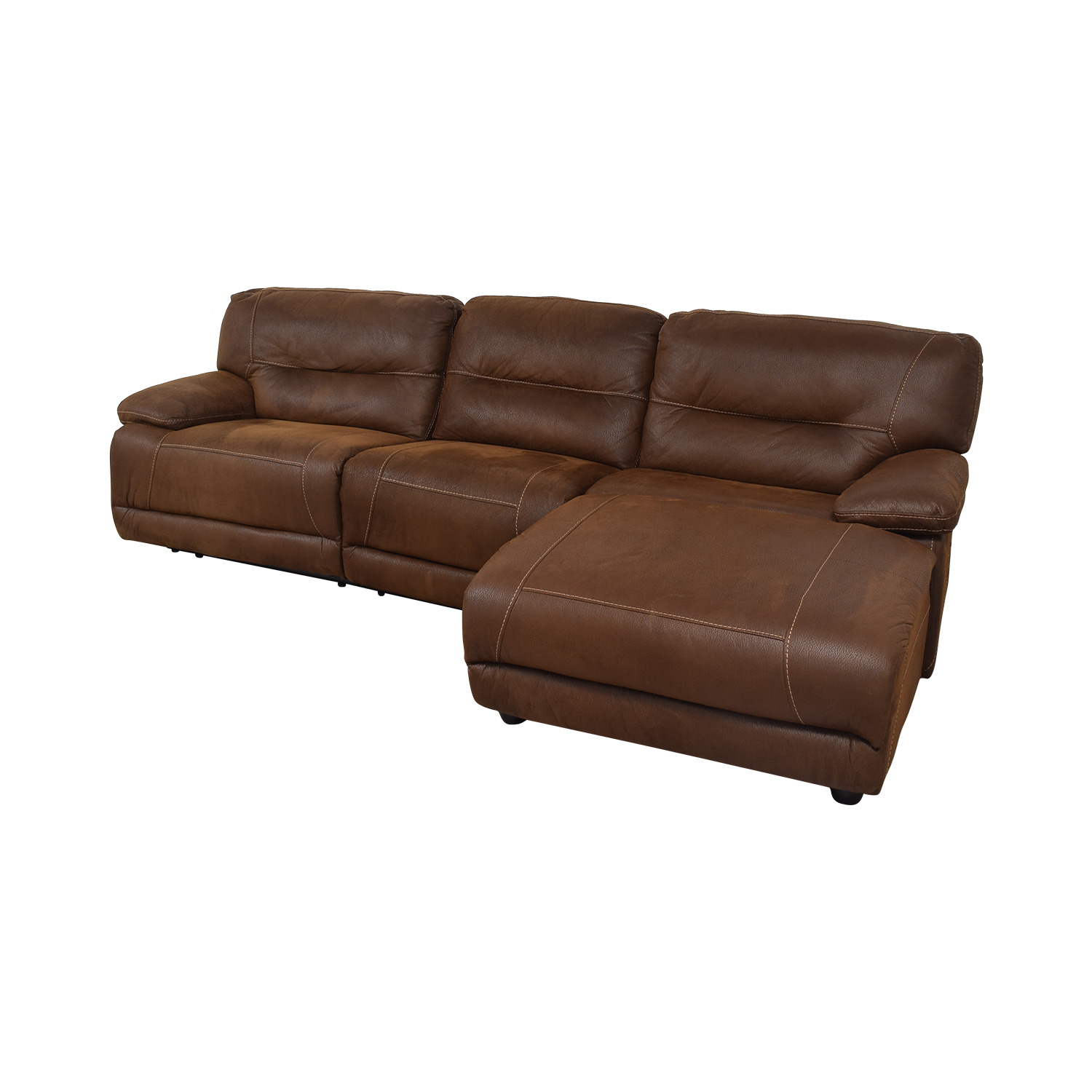Bob's Discount Furniture Bob's Discount Furniture Brown Tufted Chaise Sectional Recliner nyc