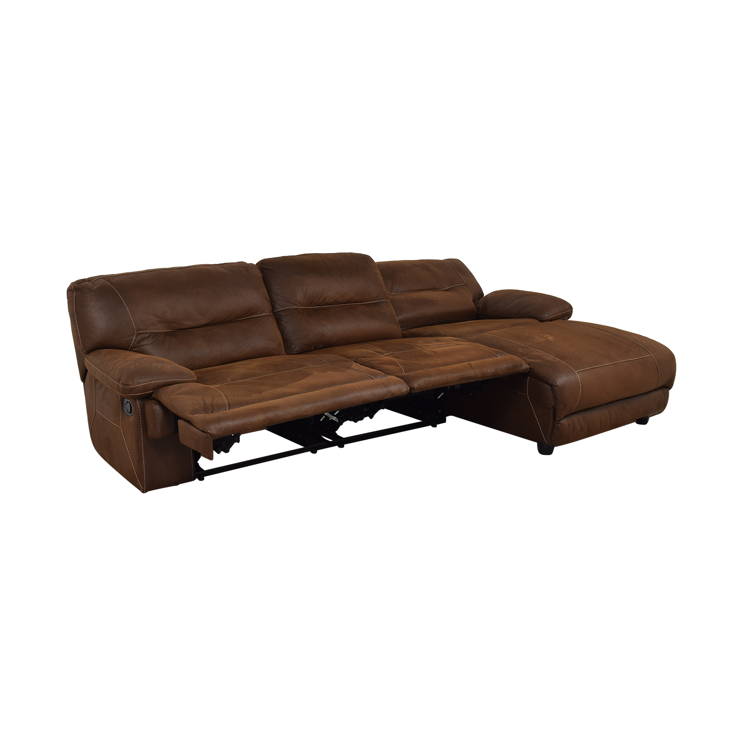 Bob's Discount Furniture Bob's Discount Furniture Brown Tufted Chaise Sectional Recliner for sale