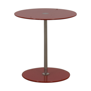 Red Top Modern Bar Table with Metal Base / Tables