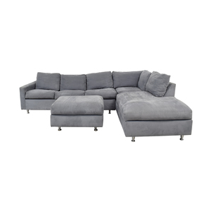 Jensen-Lewis Jensen-Lewis Grey Ultrasuede Chaise Sectional with Ottoman and Queen Convertible Sofas