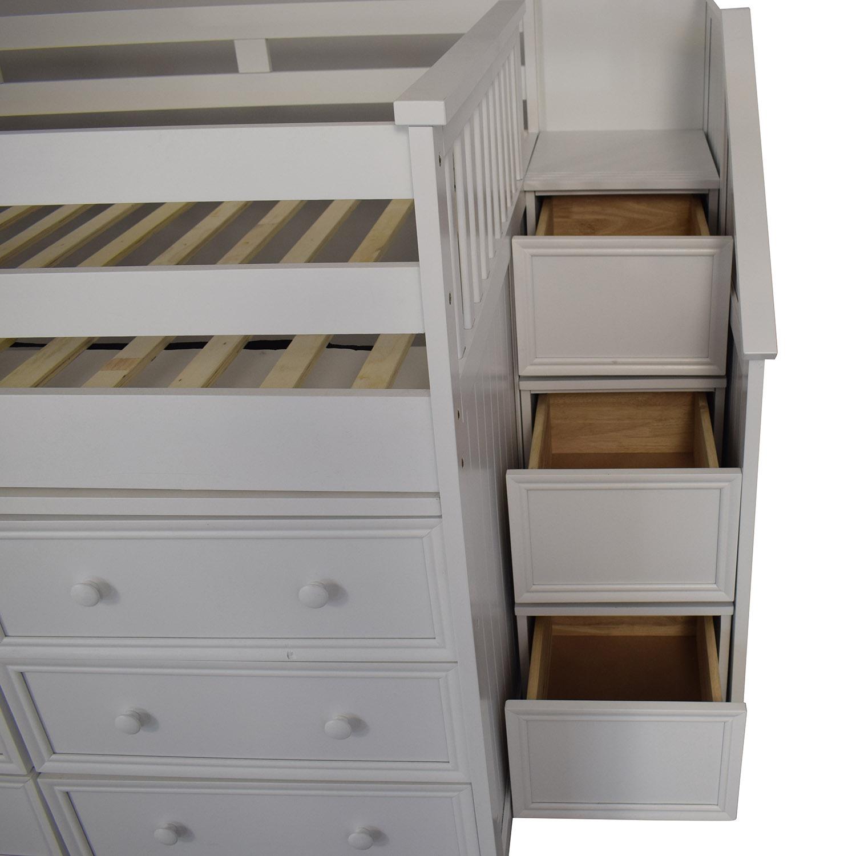 White Nine Drawer Loft Full Bed Bed Frames