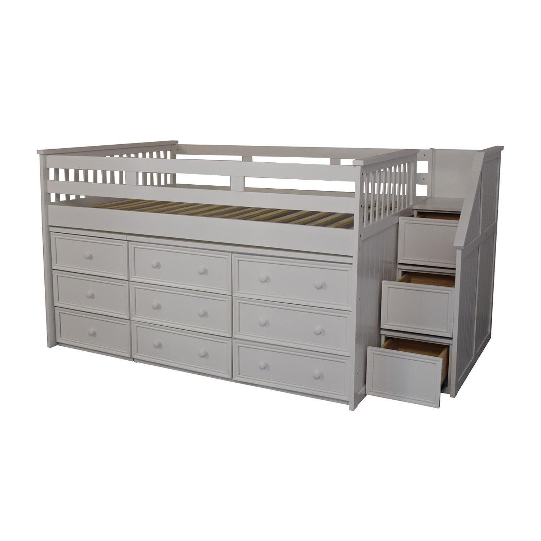 White Nine Drawer Loft Full Bed nyc