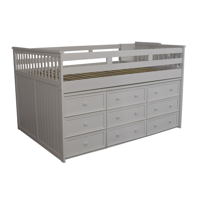 White Nine Drawer Loft Full Bed Eggshell white