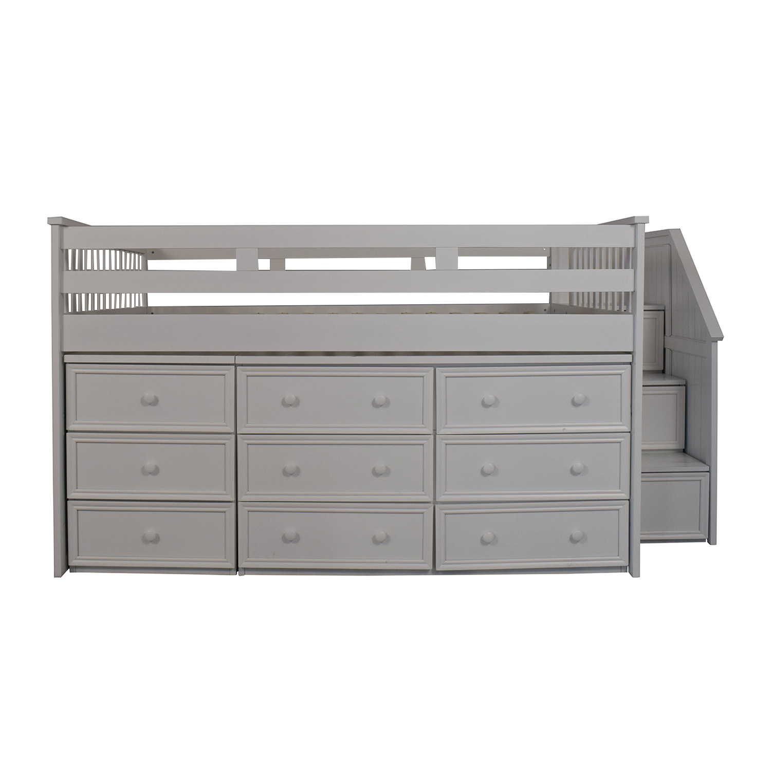 White Nine Drawer Loft Full Bed dimensions