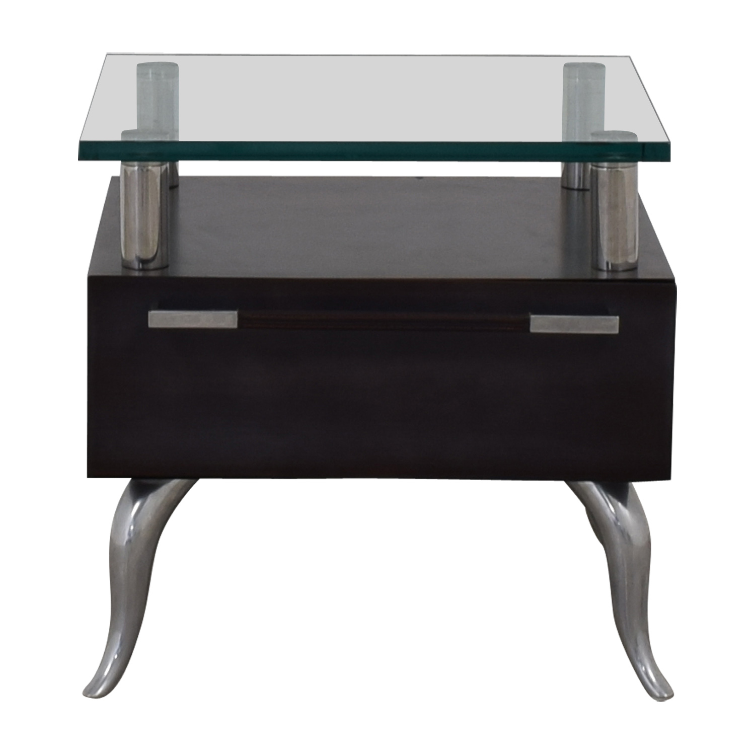 Chrome and Glass Nightstand