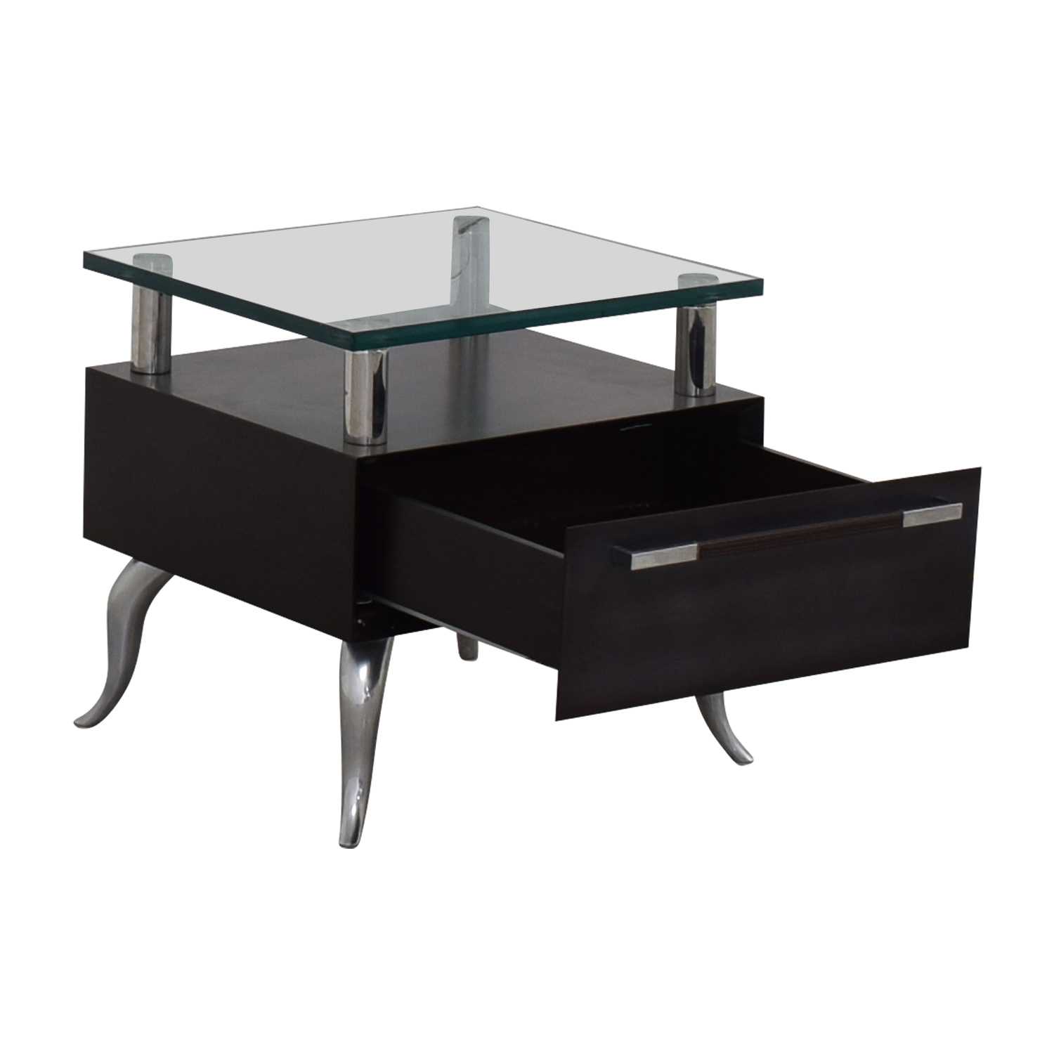 shop Chrome and Glass Nightstand  Tables