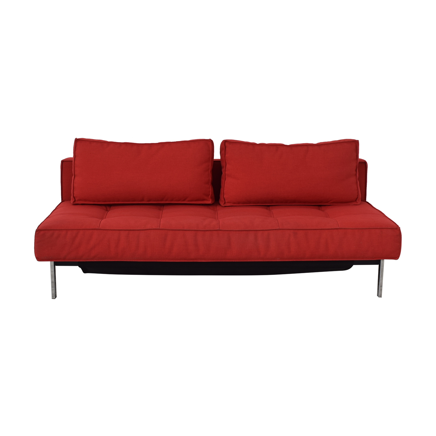 Innovation Living Red Tufted Armless Twin Sofa Bed / Classic Sofas