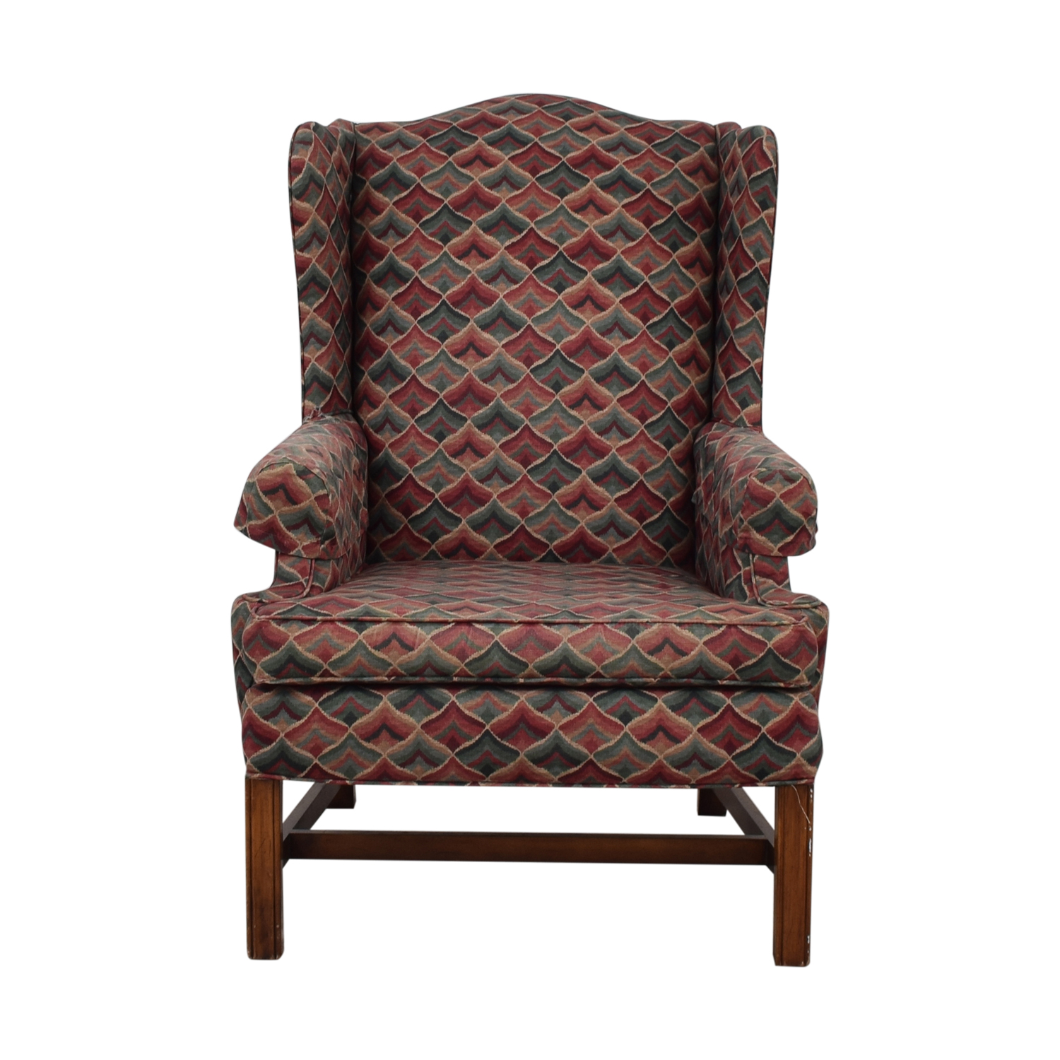 Wood and Fabric Armchair for sale