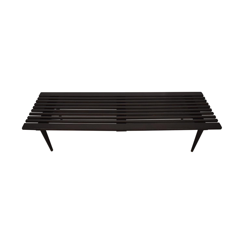BoConcept Midcentury Black Slat Bench Herman Miller-Style with BoConcept Cushion for sale