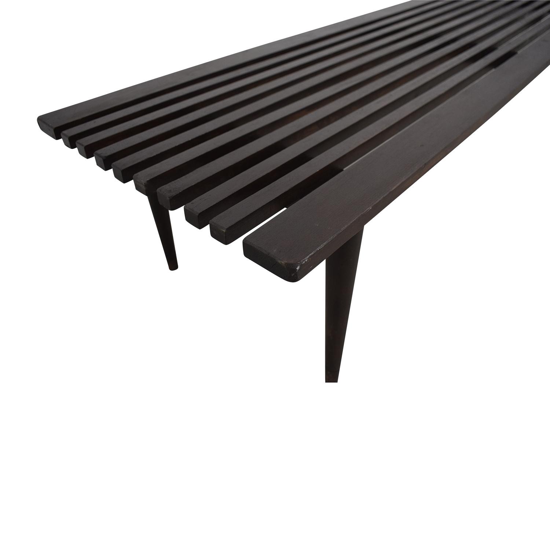 BoConcept Midcentury Black Slat Bench Herman Miller-Style with BoConcept Cushion