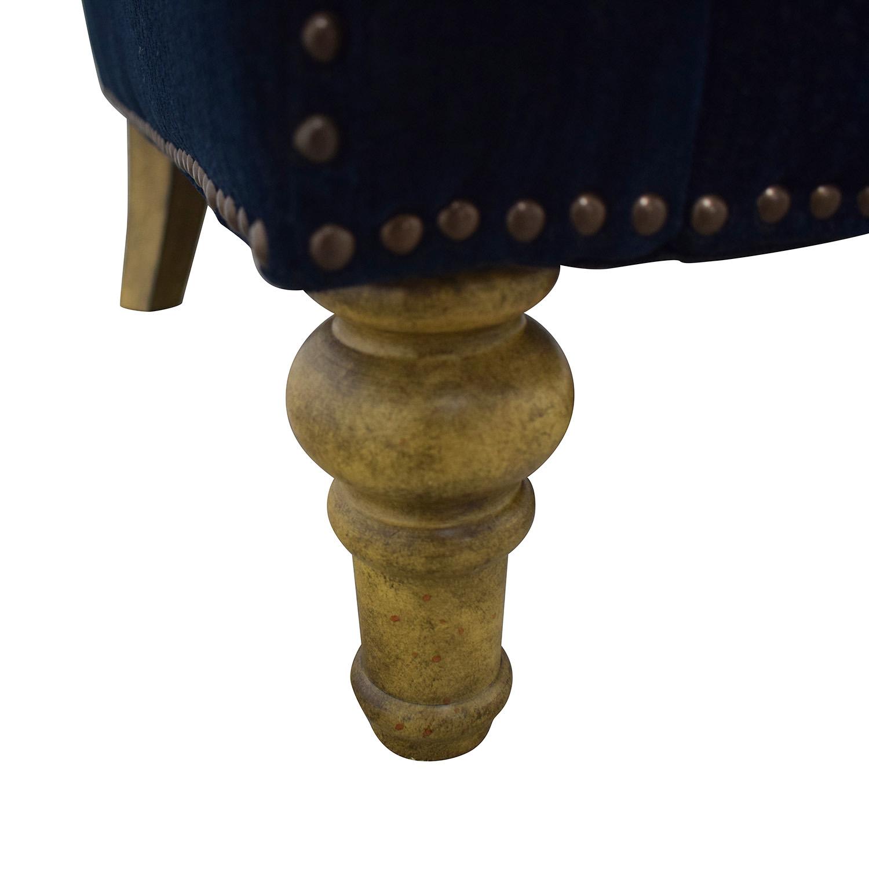 Mayfair Navy Nailhead Two-Cushion Loveseat navy blue