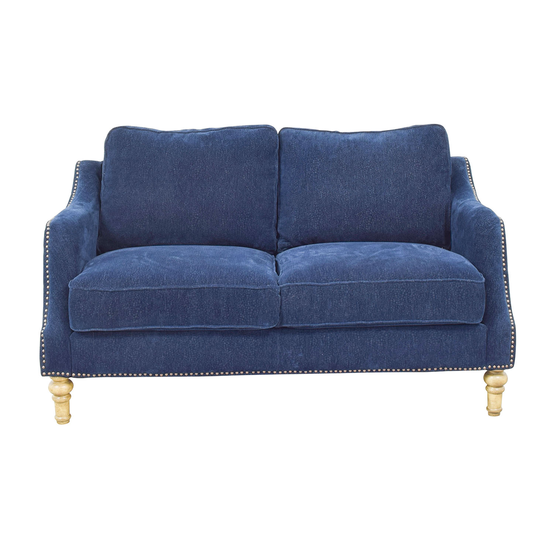 Mayfair Navy Nailhead Two-Cushion Loveseat dimensions