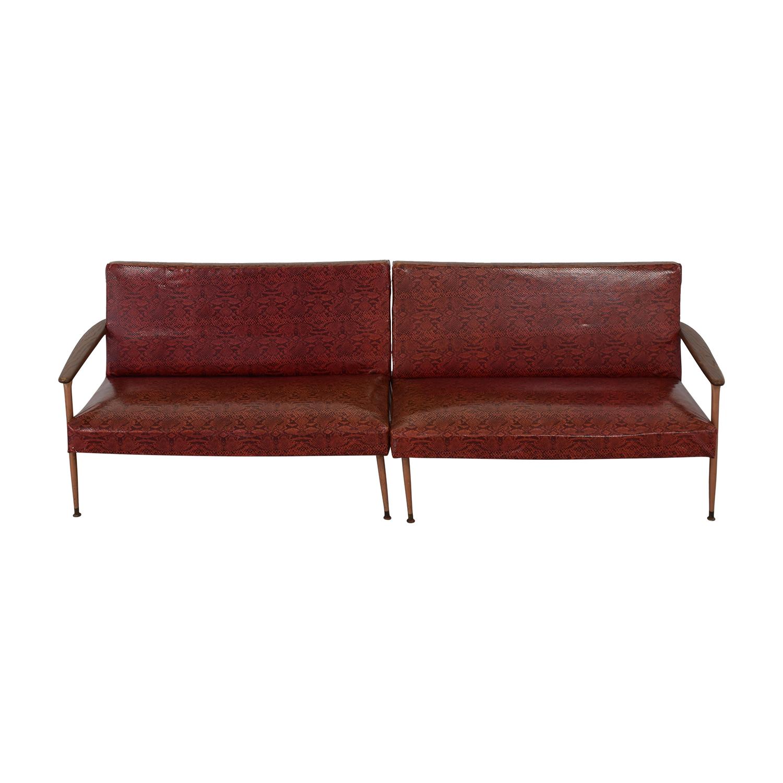 Red Naugahyde Printed Loveseat Set Sofas