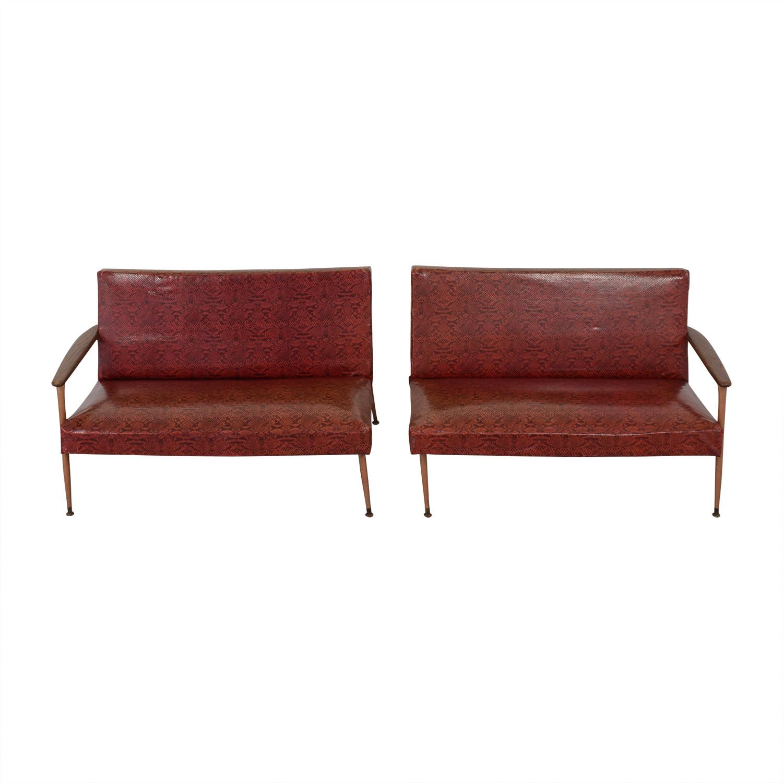 buy Red Naugahyde Printed Loveseat Set  Sofas