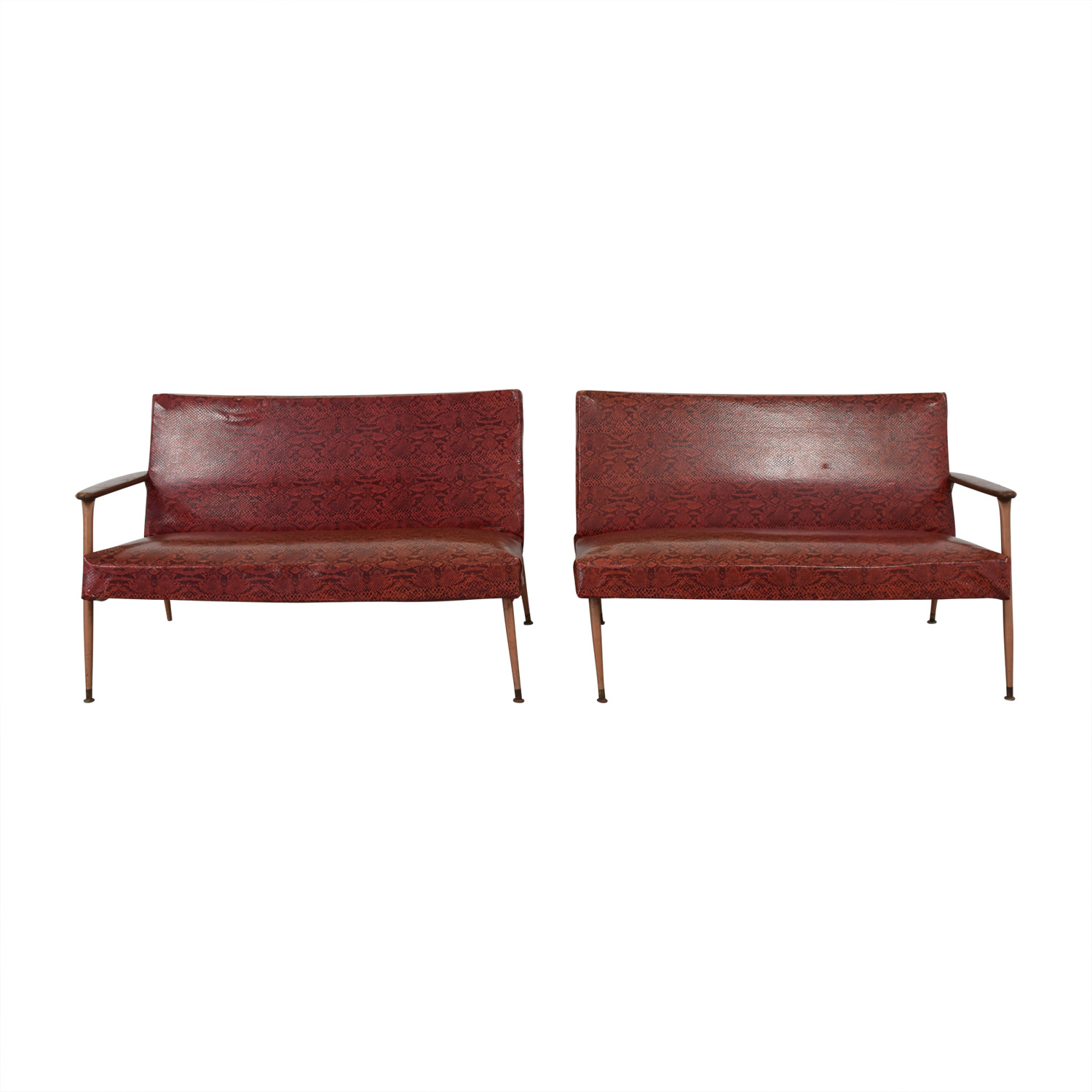Red Naugahyde Printed Loveseat Set nyc