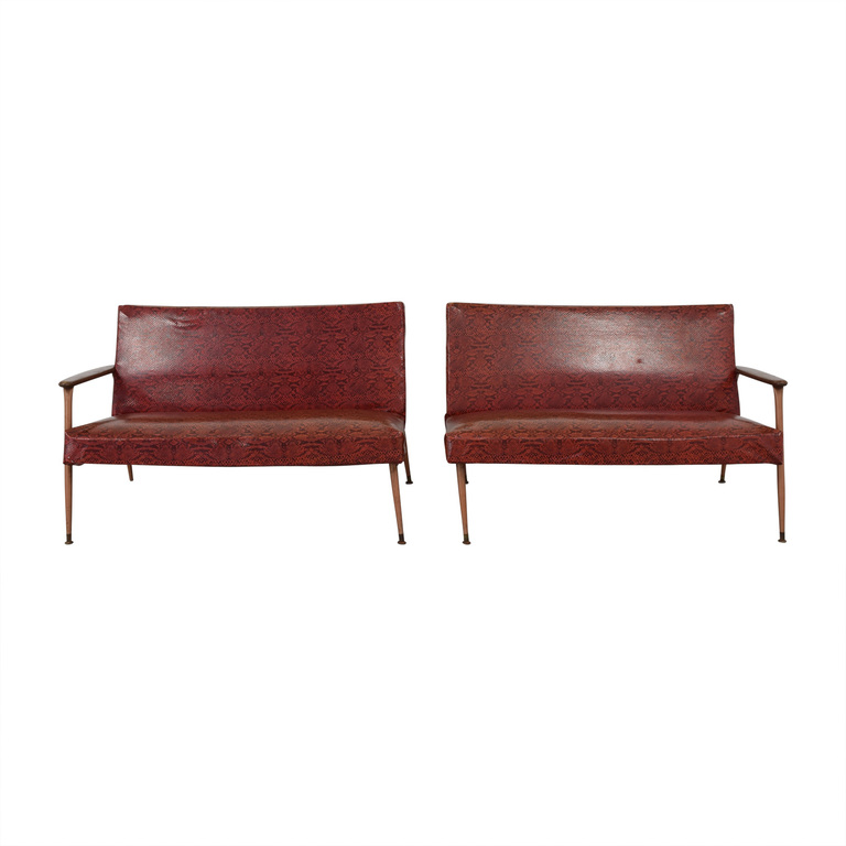 buy  Red Naugahyde Printed Loveseat Set online