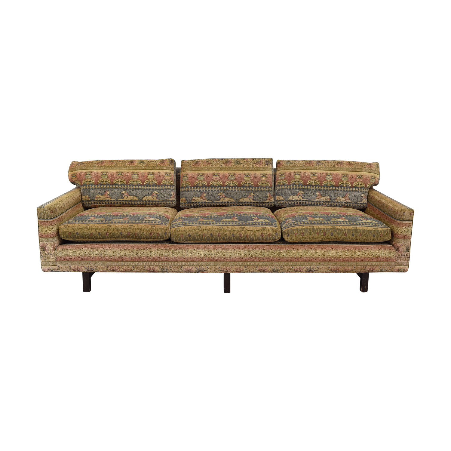 Vintage Three-Cushion Multi-Colored Couch on sale