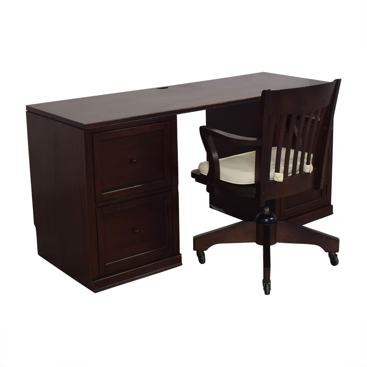 Pottery Barn Pottery Barn Four-Drawer Desk and Chair on Castors second hand