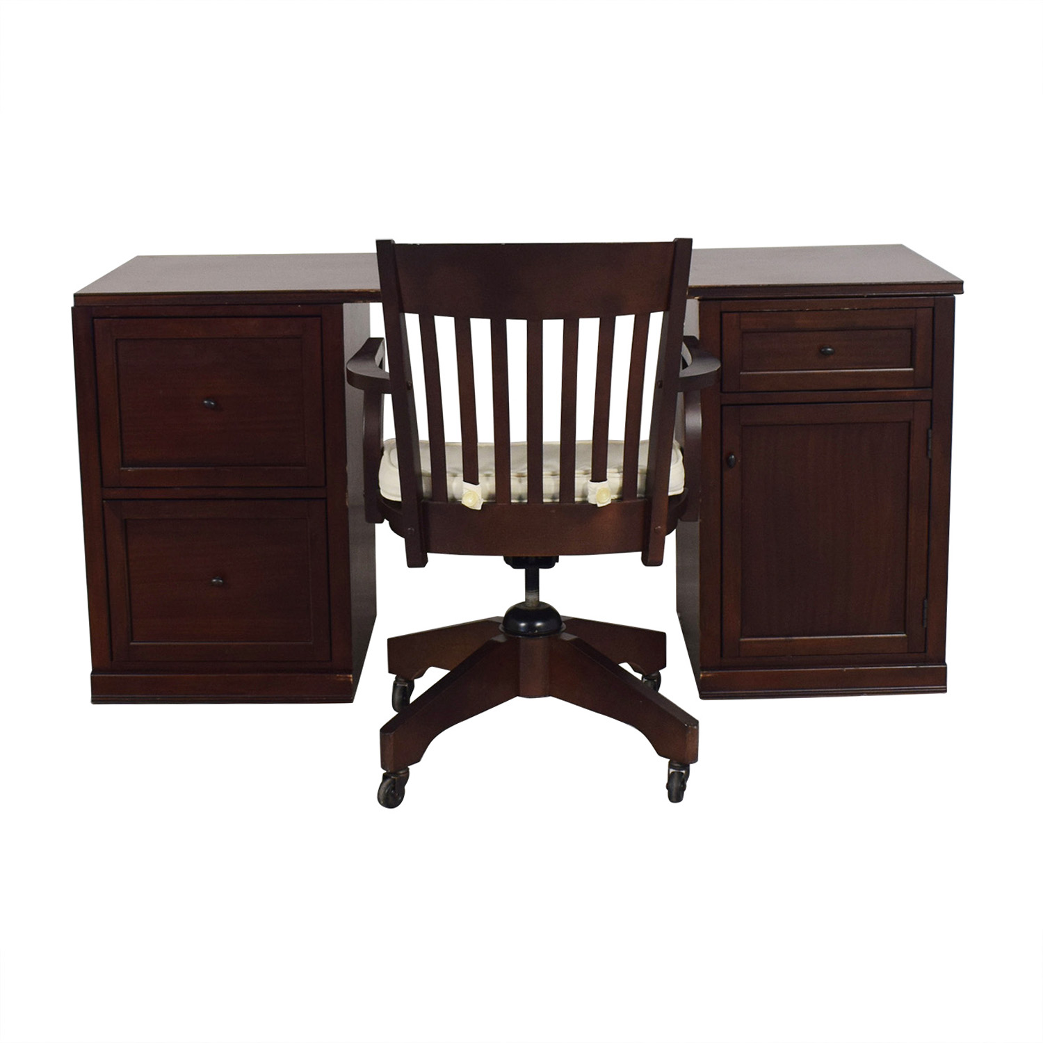 shop Pottery Barn Four-Drawer Desk and Chair on Castors Pottery Barn
